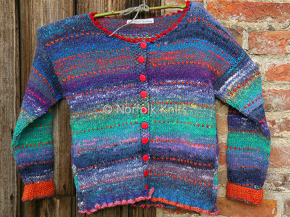 Norfolk Knits handmade Fringed Noro Child's Cardigan
