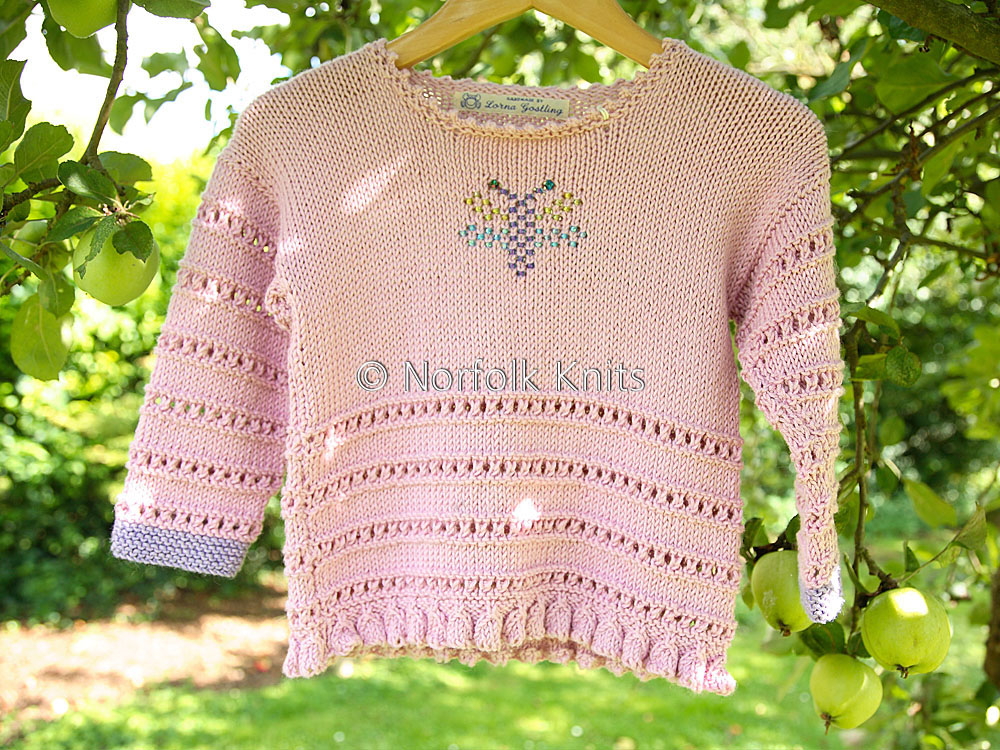 Norfolk Knits handmade cotton Dragonfly Child's Jumper